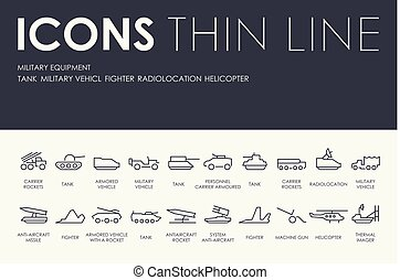 MILITARY EQUIPMENT Thin Line Icons - Set of MILITARY...