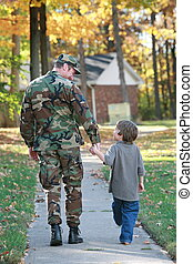 Father and Son - Military Father and Son Walking