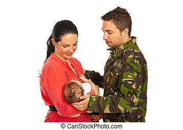 Military father meet his family