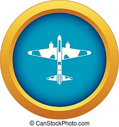 Military fighter aircraft icon blue vector isolated