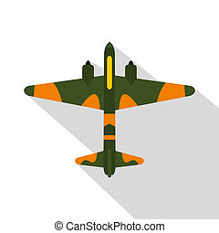 Military fighter aircraft icon, flat style