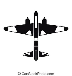 Military fighter aircraft icon, simple style