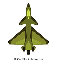 Military fighter jet icon, flat style