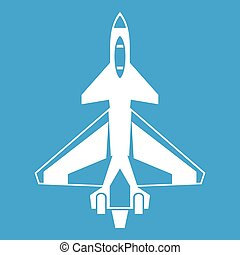 Military fighter jet icon white