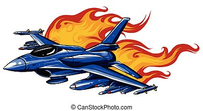 Military fighter jets isolated on background. Vector ...