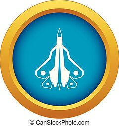 Military fighter plane icon blue vector isolated