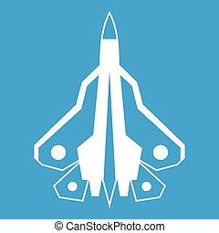 Military fighter plane icon white