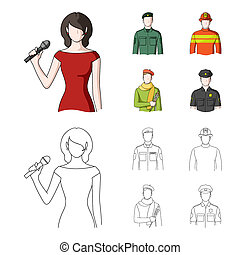 Military, fireman, artist, policeman. Profession set collection icons in cartoon, outline style bitmap symbol stock illustration web.