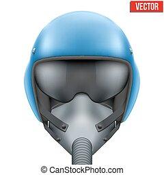 Military flight fighter pilot helmet. Vector.