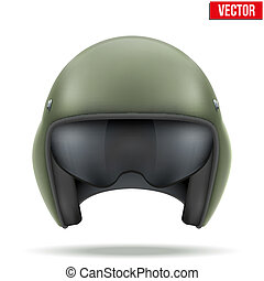 Military flight helicopter helmet. Vector.