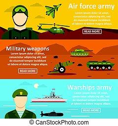Military force banner horizontal set, flat style