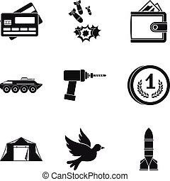 Military force icons set, simple style