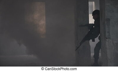 Military forces walking into building