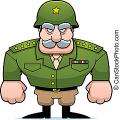 Military General - A cartoon military general with a helmet...