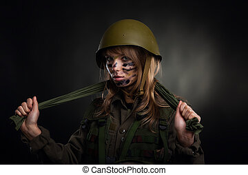 military girl - army girl, soldier woman wear helmet...
