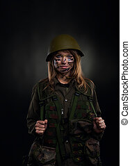 military girl - army girl, soldier woman in a military...