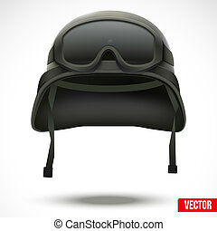 Military green helmet and goggles vector