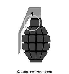 Military Grenade black . Army explosives. Soldiery...