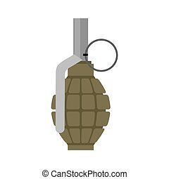 Military Grenade green. Army explosives. Soldiery...