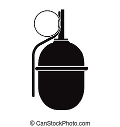 Military grenade icon in black style isolated on white background. Military and army symbol stock vector illustration