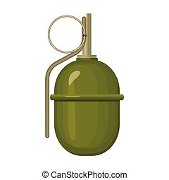 Military grenade icon in cartoon style isolated on white background. Military and army symbol stock vector illustration
