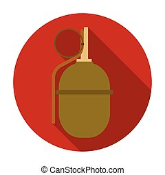 Military grenade icon in flat style isolated on white background. Military and army symbol stock vector illustration