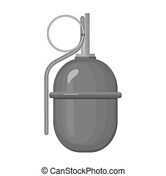 Military grenade icon in monochrome style isolated on white background. Military and army symbol stock vector illustration
