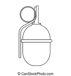 Military grenade icon in outline style isolated on white background. Military and army symbol stock vector illustration
