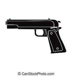 Military handgun icon in black style isolated on white background. Military and army symbol stock vector illustration