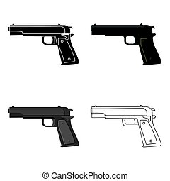 Military handgun icon in cartoon style isolated on white background. Military and army symbol stock vector illustration