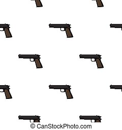 Military handgun icon in cartoon style isolated on white background. Military and army pattern stock vector illustration