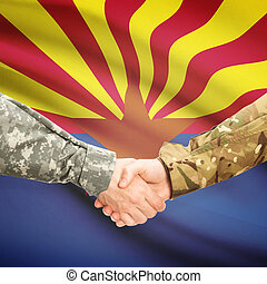 Military handshake and US state flag - Arizona