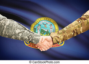 Military handshake and US state flag - Idaho - Soldiers...