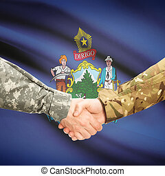 Military handshake and US state flag - Maine
