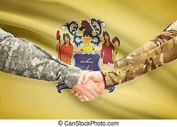 Military handshake and US state flag - New Jersey