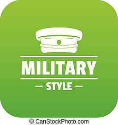Military hat icon green vector isolated on white background