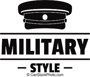 Military hat logo, simple black style - Military hat logo....