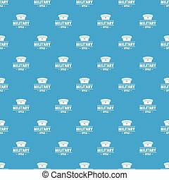 Military hat pattern vector seamless blue repeat for any use