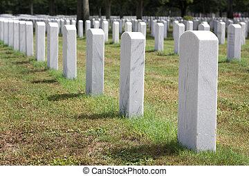 Military Headstones - Headstones mark the graves of veterans...