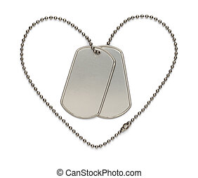Military Heart Dog Tags
