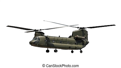double rotor military cargo helicopter isolated on white