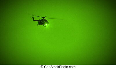 Military Helicopter Fly by in Night Vision - Russian...