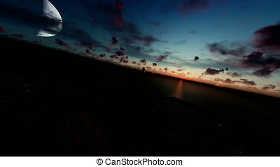 Military helicopter flying over ocean, sunrise with half moon
