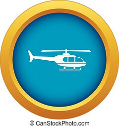 Military helicopter icon blue vector isolated