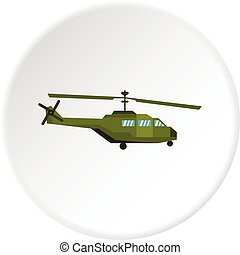 Military helicopter icon circle