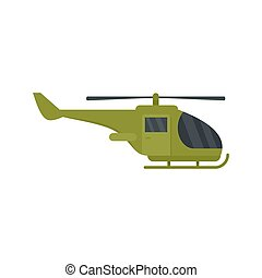 Military helicopter icon, flat style