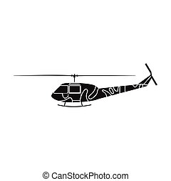 Military helicopter icon in black style isolated on white background. Military and army symbol stock vector illustration