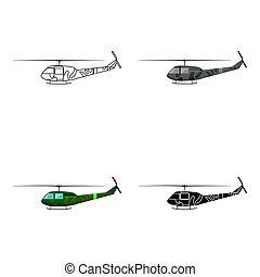 Military helicopter icon in cartoon style isolated on white background. Military and army symbol stock vector illustration