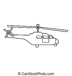 Military helicopter icon, outline style