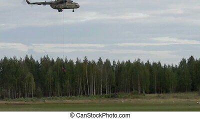 military helicopter landing cargo